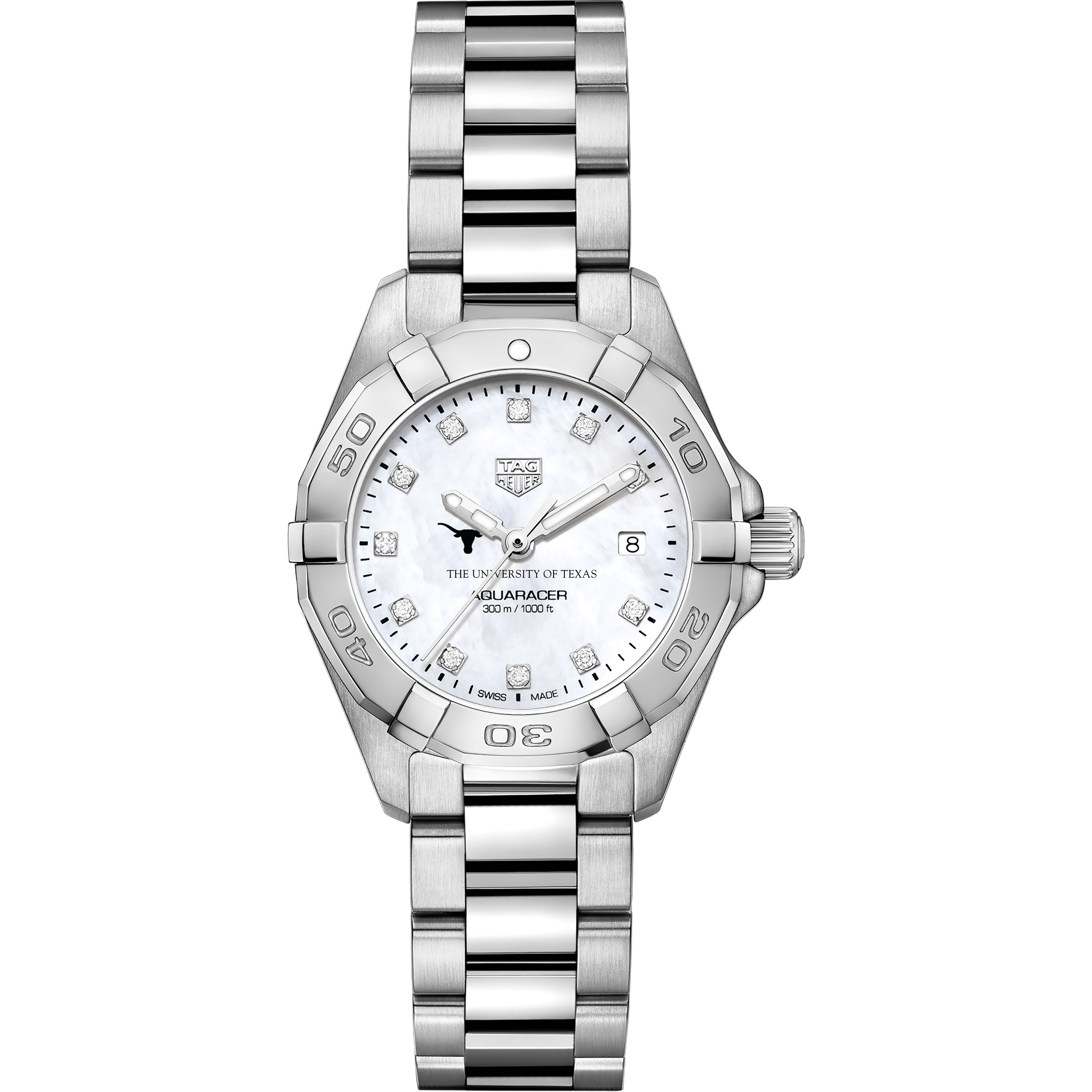 Texas Women's TAG Heuer Steel Aquaracer with MOP Diamond Dial - Image 2