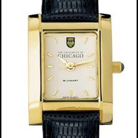 Chicago Women's Gold Quad Watch with Leather Strap