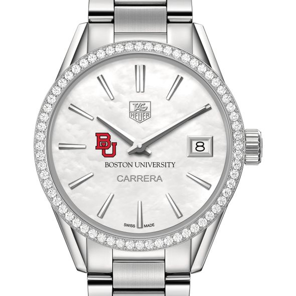 Boston University Women's TAG Heuer Steel Carrera with MOP Dial & Diamond Bezel