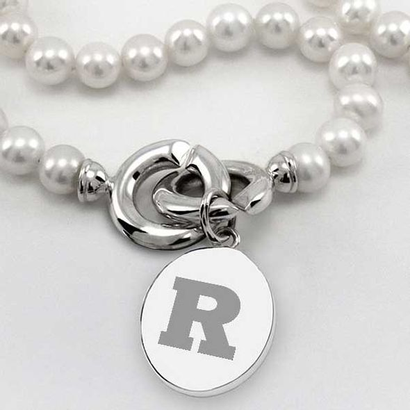 Rutgers University Pearl Necklace with Sterling Silver Charm - Image 2