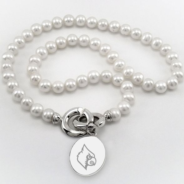 University of Louisville Pearl Necklace with Sterling Silver Charm - Image 1