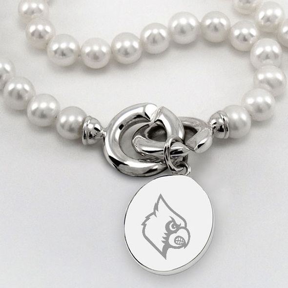 University of Louisville Pearl Necklace with Sterling Silver Charm - Image 2