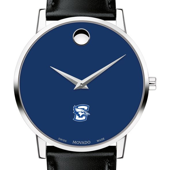 Creighton University Men's Movado Museum with Blue Dial & Leather Strap