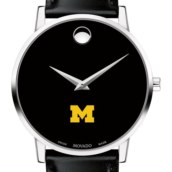 University of Michigan Men's Movado Museum with Leather Strap