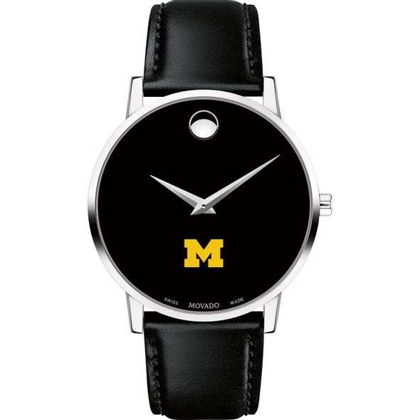 University of Michigan Men's Movado Museum with Leather Strap - Image 2