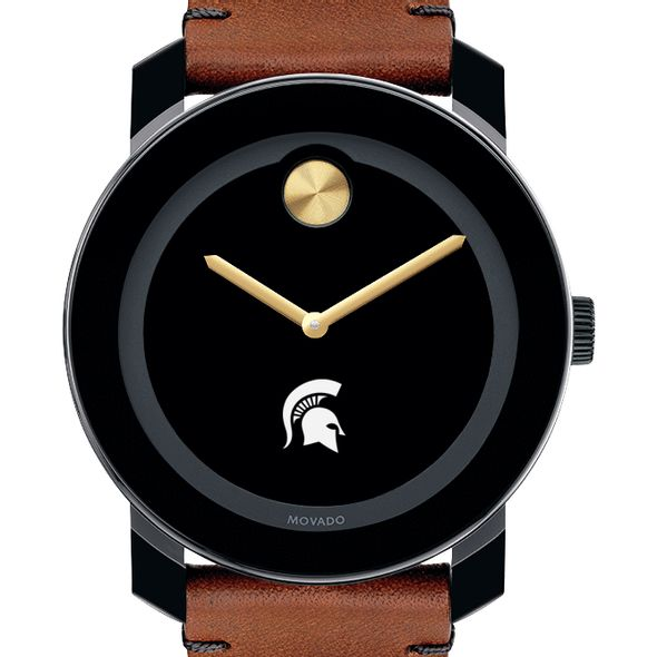 Michigan State University Men's Movado BOLD with Brown Leather Strap