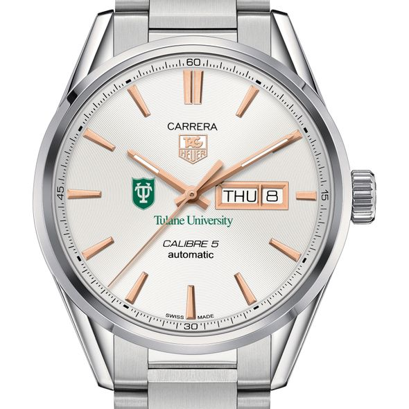 Tulane University Men's TAG Heuer Day/Date Carrera with Silver Dial & Bracelet