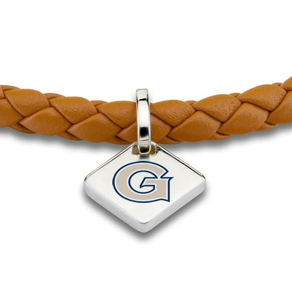 Georgetown Leather Bracelet w/ Sterling Silver Tag - Saddle - Image 2