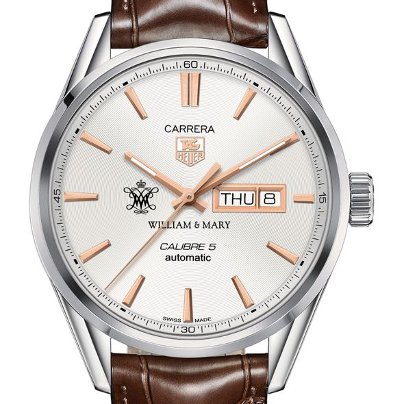 College of William & Mary Men's TAG Heuer Day/Date Carrera with Silver Dial & Strap