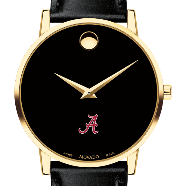 Alabama Men's Movado Gold Museum Classic Leather