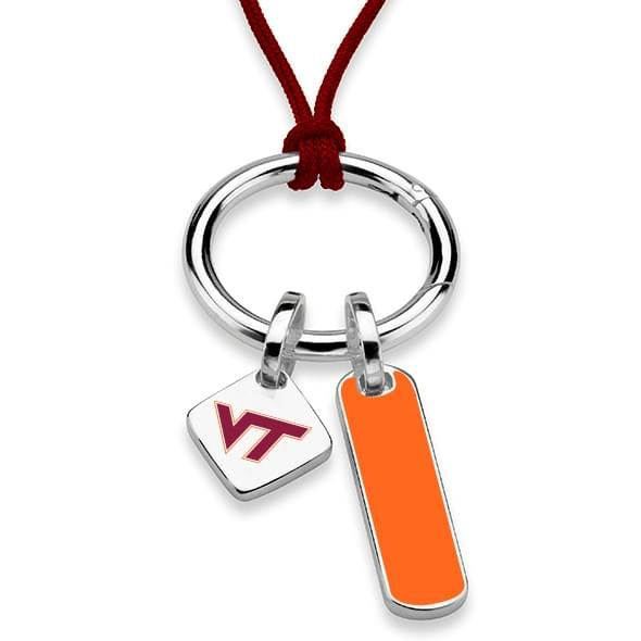 Virginia Tech Silk Necklace with Enamel Charm & Sterling Silver Tag