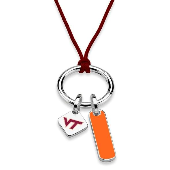 Virginia Tech Silk Necklace with Enamel Charm & Sterling Silver Tag - Image 2