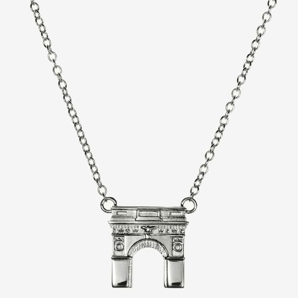 NYU Sterling Silver Campus Architecture Necklace by Kyle Cavan - Image 2