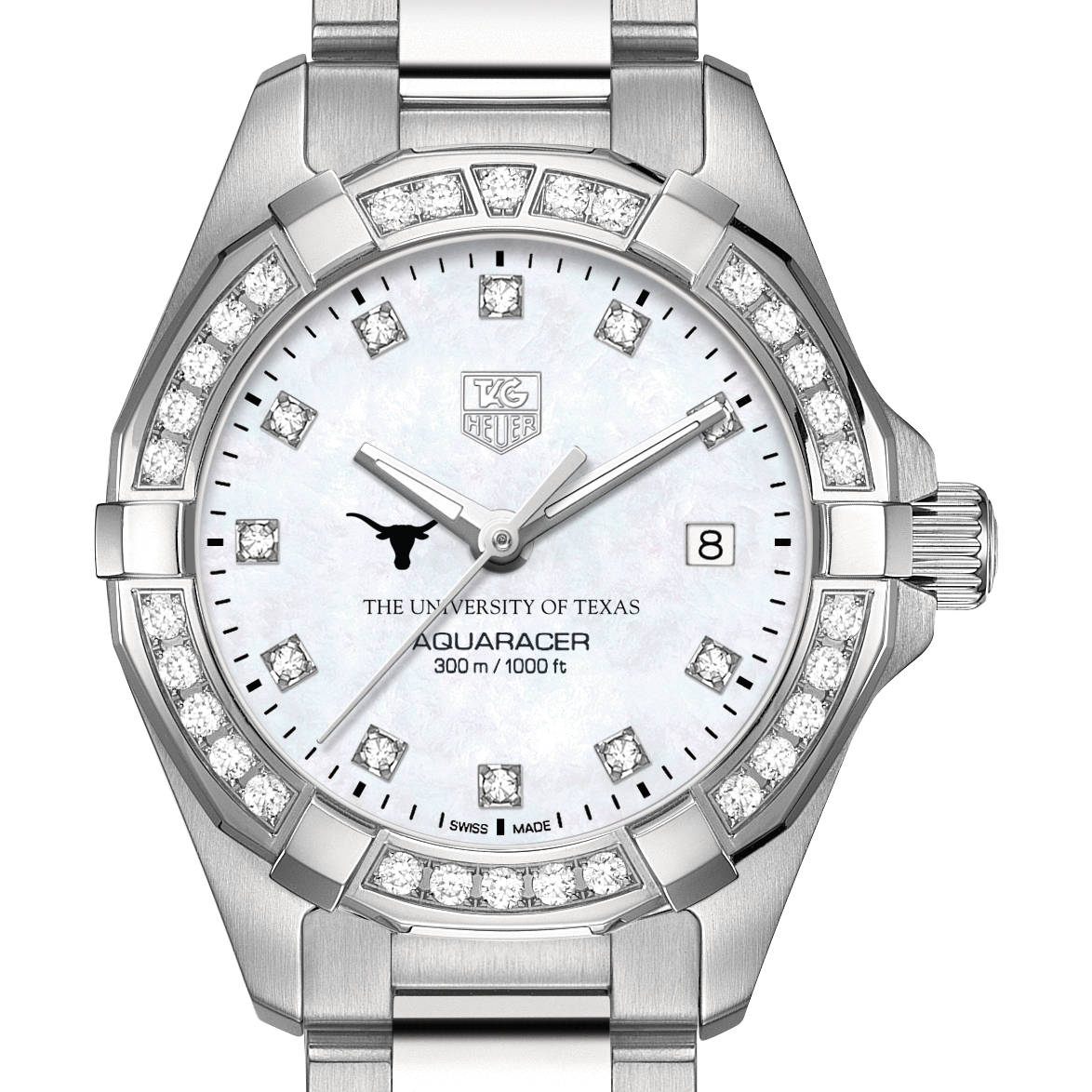 Texas Women's TAG Heuer Steel Aquaracer with MOP Diamond Dial & Diamond Bezel