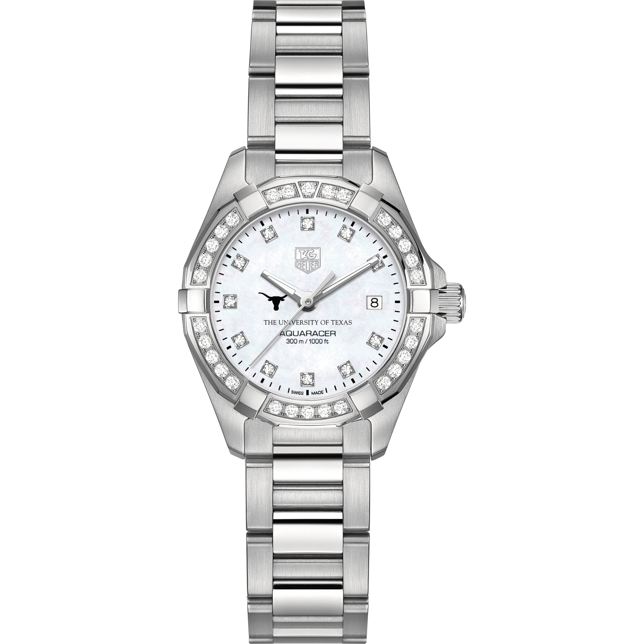 Texas Women's TAG Heuer Steel Aquaracer with MOP Diamond Dial & Diamond Bezel - Image 2