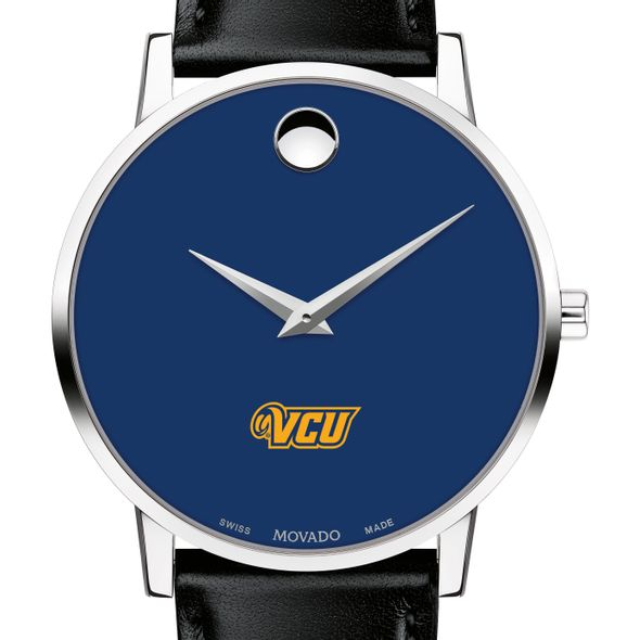 Virginia Commonwealth University Men's Movado Museum with Blue Dial & Leather Strap