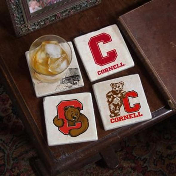Cornell Logos Marble Coasters