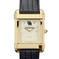 Houston Men's Gold Quad with Leather Strap