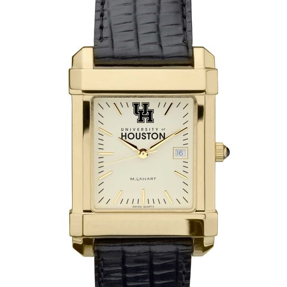 Houston Men's Gold Quad with Leather Strap - Image 1