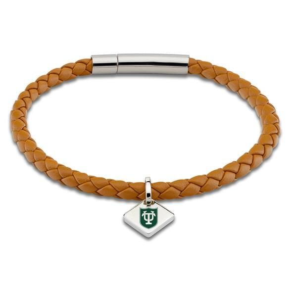 Tulane University Leather Bracelet with Sterling Silver Tag - Saddle