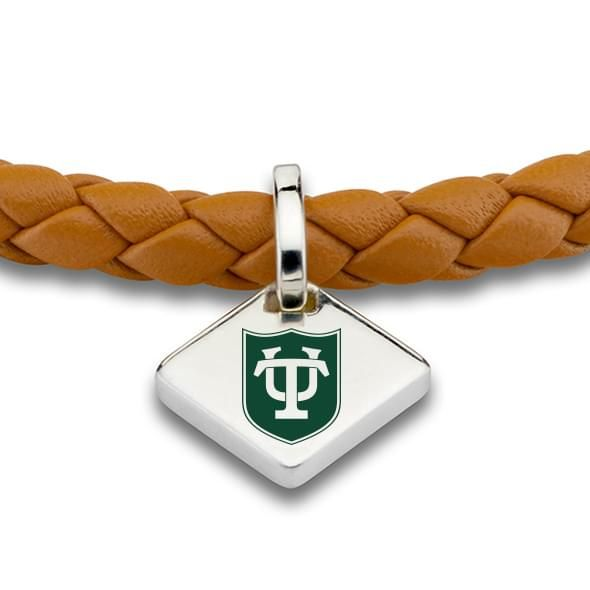 Tulane University Leather Bracelet with Sterling Silver Tag - Saddle - Image 2