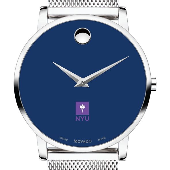 New York University Men's Movado Museum with Blue Dial & Mesh Bracelet