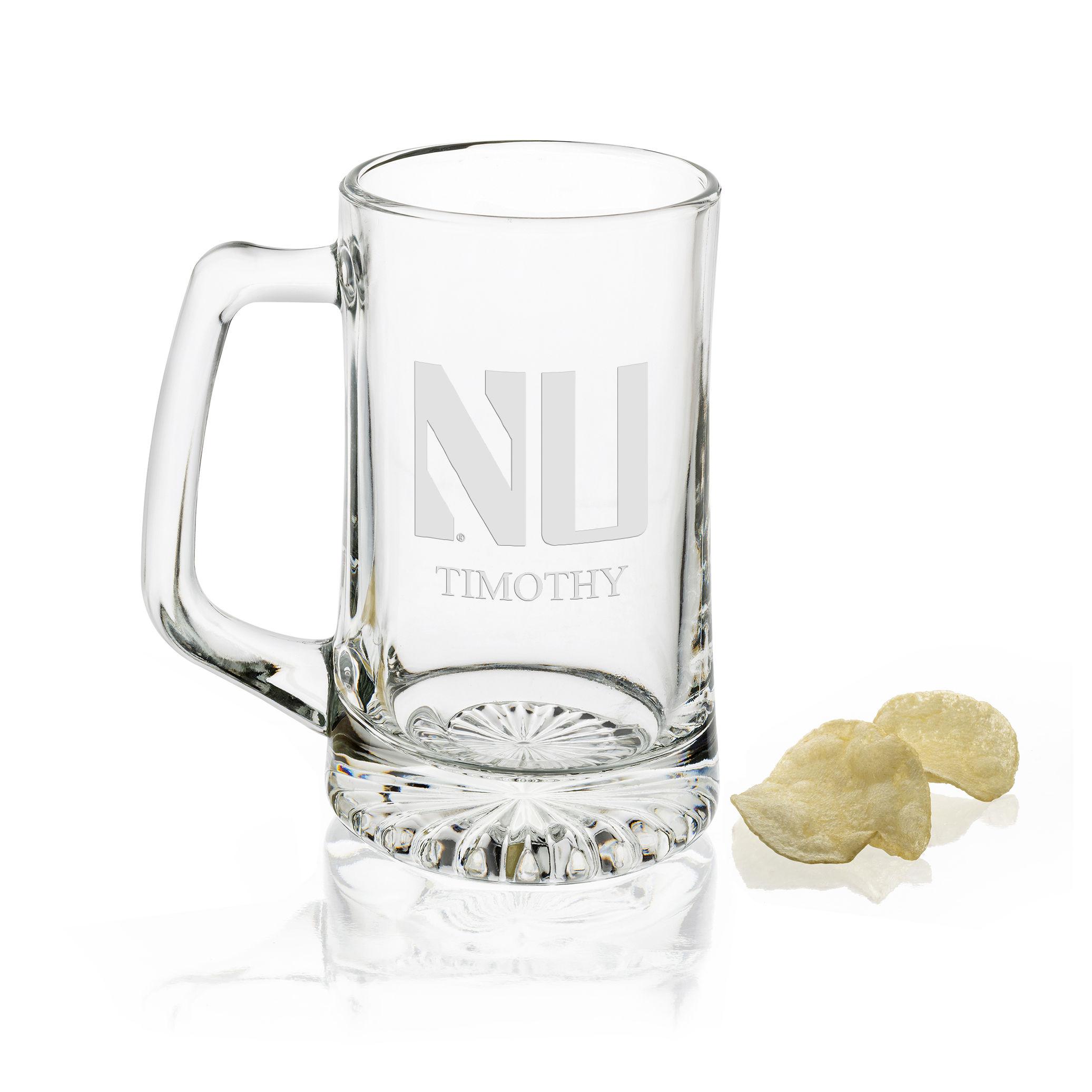 Northwestern 25 oz Glass Stein