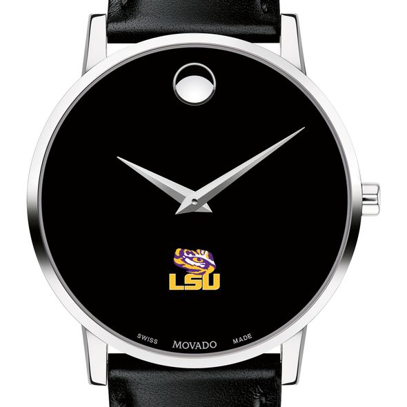 Louisiana State University Men's Movado Museum with Leather Strap - Image 1