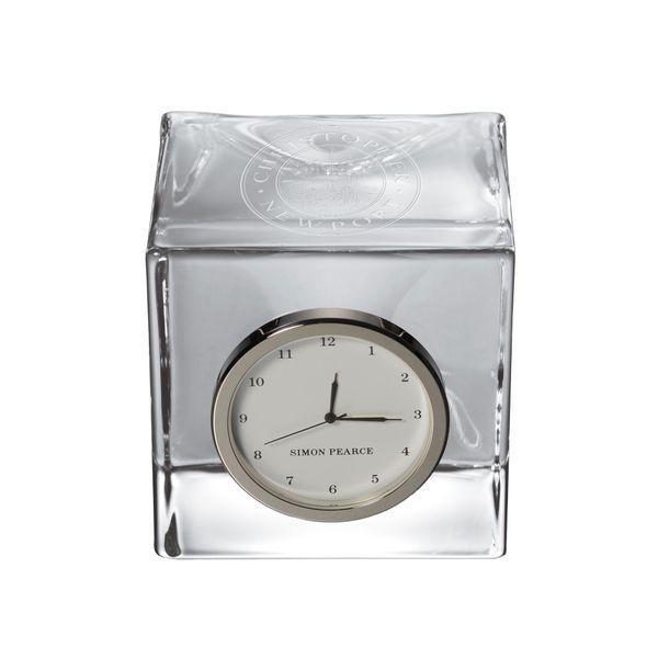 Christopher Newport University Glass Desk Clock by Simon Pearce