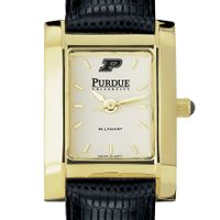Purdue University Women's Gold Quad with Leather Strap