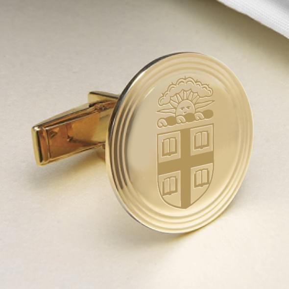 Brown 14K Gold Cufflinks - Image 2