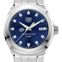 Oklahoma State University Women's TAG Heuer Link with Blue Diamond Dial