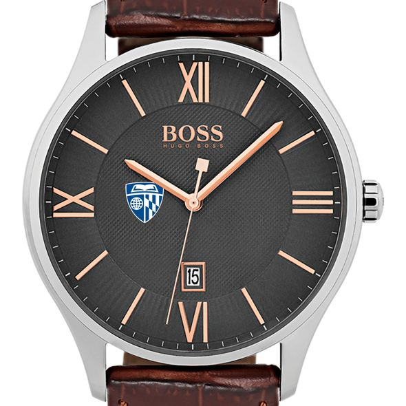 Johns Hopkins University Men's BOSS Classic with Leather Strap from M.LaHart - Image 1