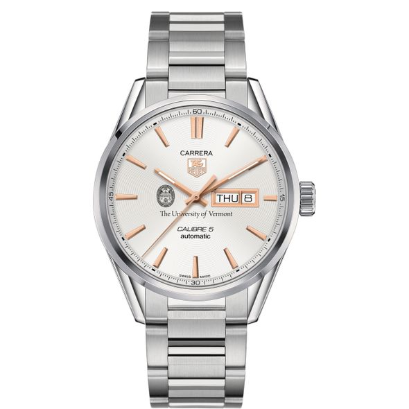 University of Vermont Men's TAG Heuer Day/Date Carrera with Silver Dial & Bracelet - Image 2