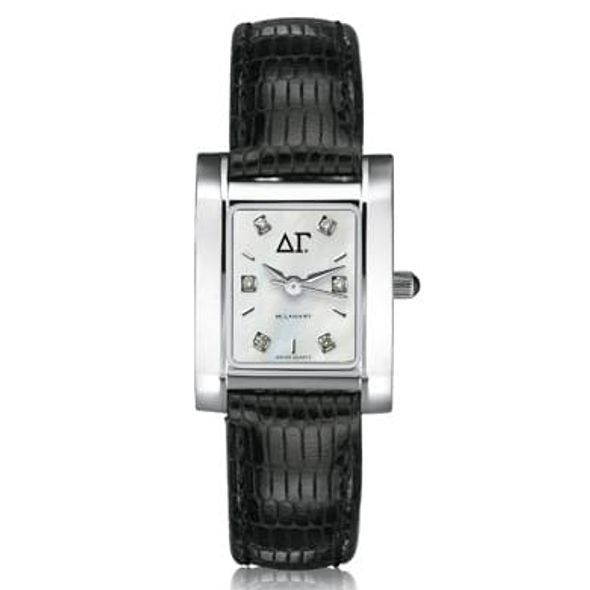 Delta Gamma Women's Mother of Pearl Quad Watch with Diamonds & Leather Strap - Image 1