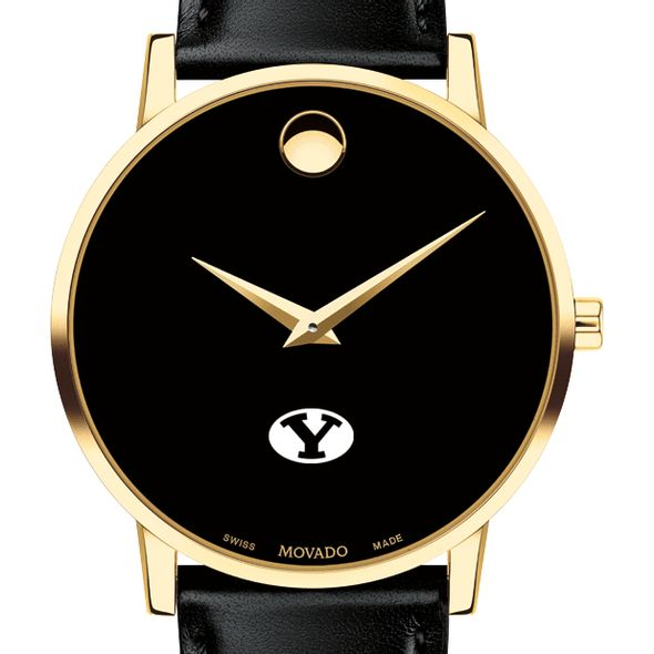 Brigham Young University Men's Movado Gold Museum Classic Leather - Image 1