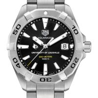 University of Louisville Men's TAG Heuer Steel Aquaracer with Black Dial