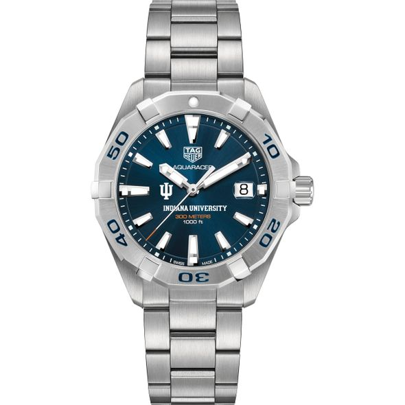 Indiana University Men's TAG Heuer Steel Aquaracer with Blue Dial - Image 2