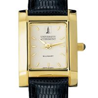 UVM Women's Gold Quad Watch with Leather Strap