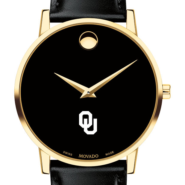 Oklahoma Men's Movado Gold Museum Classic Leather