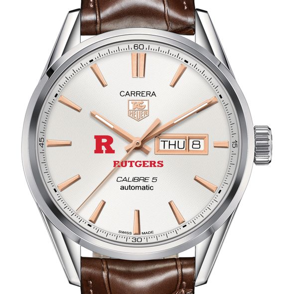 Rutgers University Men's TAG Heuer Day/Date Carrera with Silver Dial & Strap