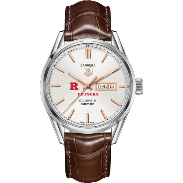 Rutgers University Men's TAG Heuer Day/Date Carrera with Silver Dial & Strap - Image 2