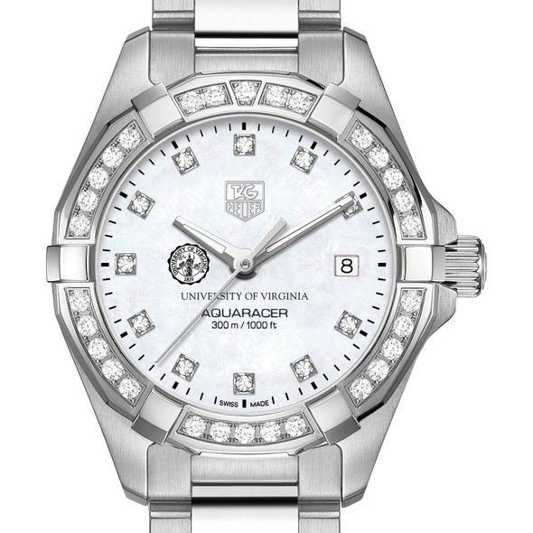 University of Virginia W's TAG Heuer Steel Aquaracer with MOP Dia Dial & Bezel
