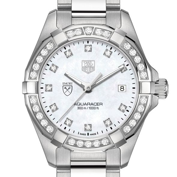 Emory University W's TAG Heuer Steel Aquaracer with MOP Dia Dial & Bezel