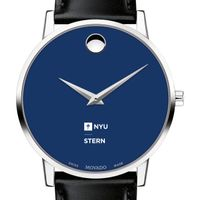 NYU Stern School of Business Men's Movado Museum with Blue Dial & Leather Strap