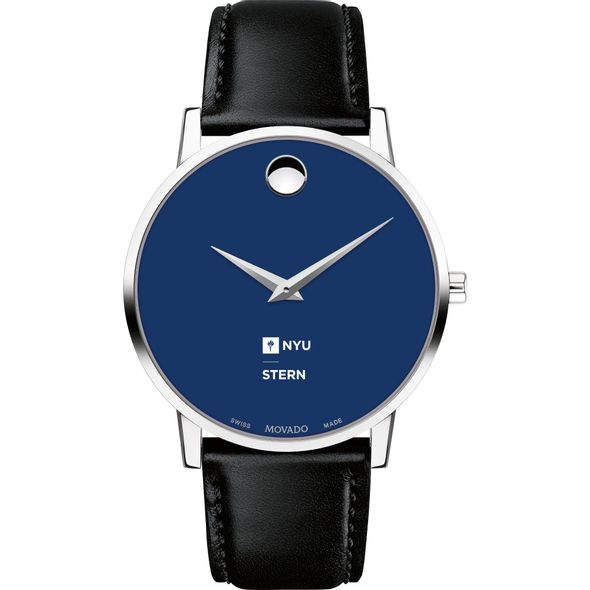 NYU Stern School of Business Men's Movado Museum with Blue Dial & Leather Strap - Image 2