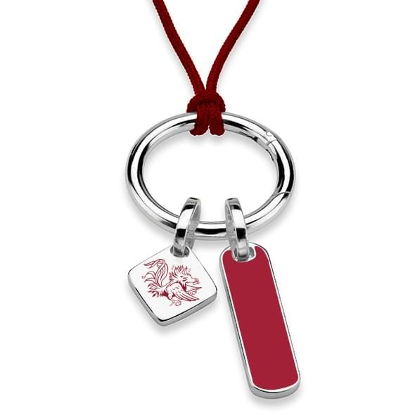 University of South Carolina Silk Necklace with Enamel Charm & Sterling Silver Tag