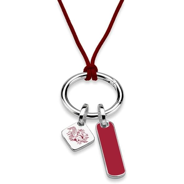 University of South Carolina Silk Necklace with Enamel Charm & Sterling Silver Tag - Image 2