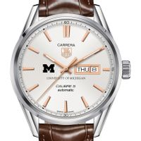 University of Michigan Men's TAG Heuer Day/Date Carrera with Silver Dial & Strap