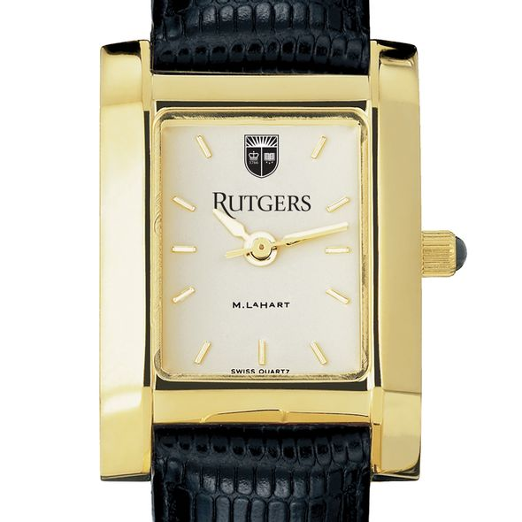Rutgers University Women's Gold Quad with Leather Strap